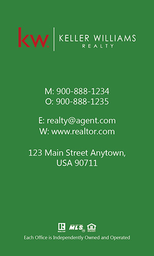 Keller Williams Realtor Vertical Business Card with Photo - Design #103474