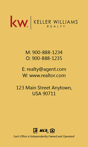 Keller Williams Realtor Vertical Business Card with Photo - Design #103475