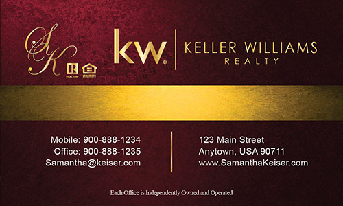 Red Keller Williams Business Card - Design #103502