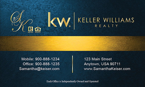 Blue Keller Williams Business Card - Design #103503