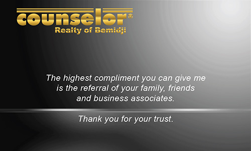 Black Counselor Realty of Bemidji Business Card - Design #132031
