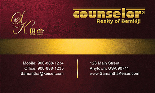 Red Counselor Realty of Bemidji Business Card - Design #132041