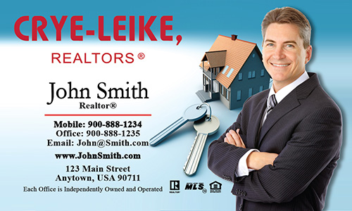 Blue Crye Leike Realtors Business Card - Design #134011