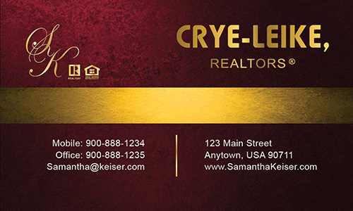 Red Crye Leike Realtors Business Card - Design #134041