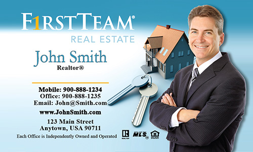 Blue First Team Real Estate Business Card - Design #136011