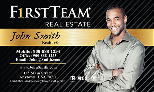 Black First Team Real Estate Business Card - Design #136021