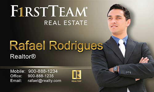 Brown First Team Real Estate Business Card - Design #136031