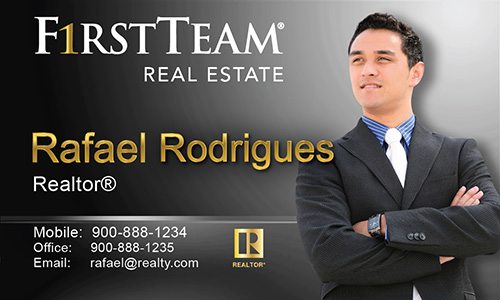 Black First Team Real Estate Business Card - Design #136032