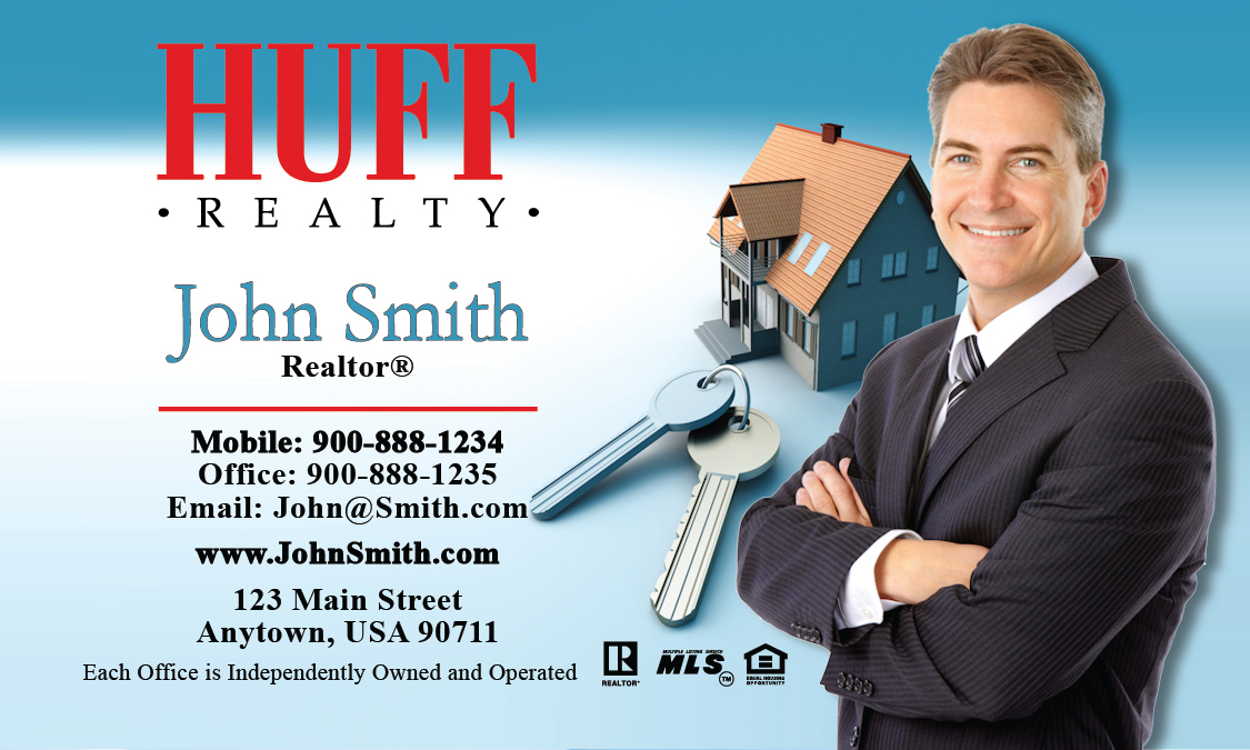 Real estate business cards online printing service for for Huff realty