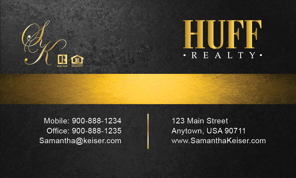 Black huff realty business card design 138041 for Huff realty