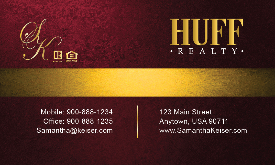 Red huff realty business card design 138042 for Huff realty
