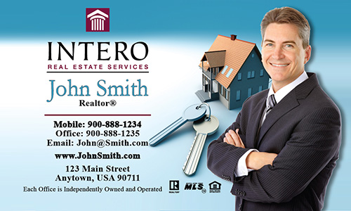 Blue Intero Real Estate Services Business Card - Design #139011