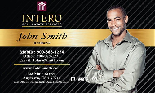 Black Intero Real Estate Services Business Card - Design #139021