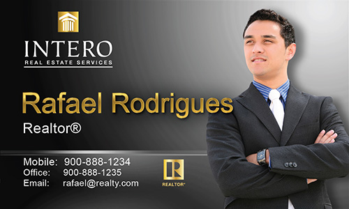 Black Intero Real Estate Services Business Card - Design #139031