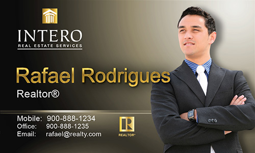 Brown Intero Real Estate Services Business Card - Design #139032