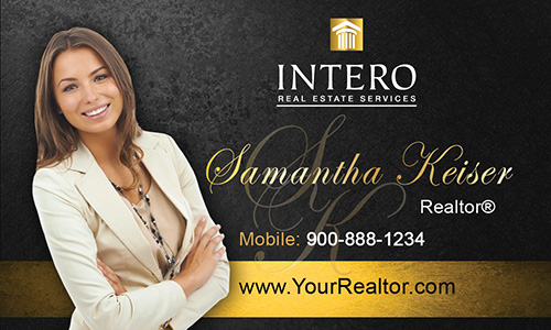 Black Intero Real Estate Services Business Card - Design #139042