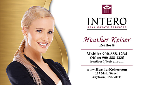 Yellow Intero Real Estate Services Business Card - Design #139053