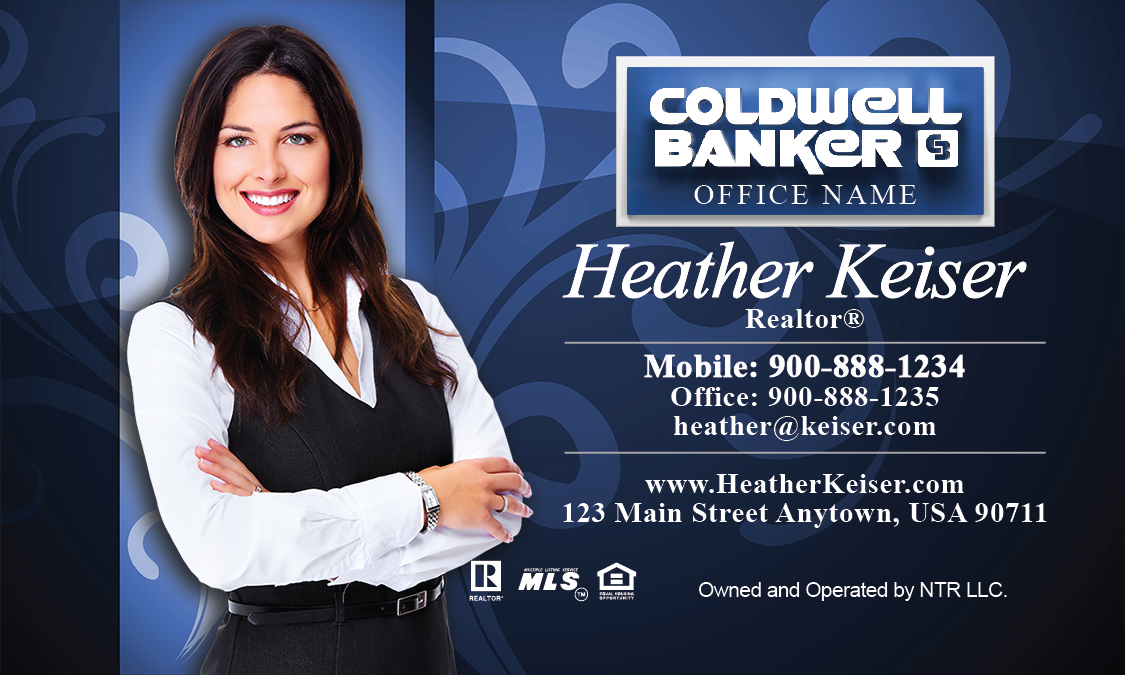 Banker Business Card Blue With Elegant Swirls Design - Coldwell banker business card template