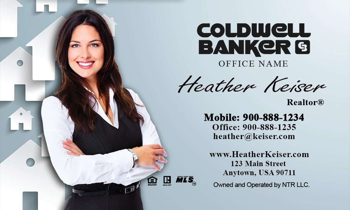 Banker Mortgage Specialist Business Card Blue Design - Coldwell banker business card template