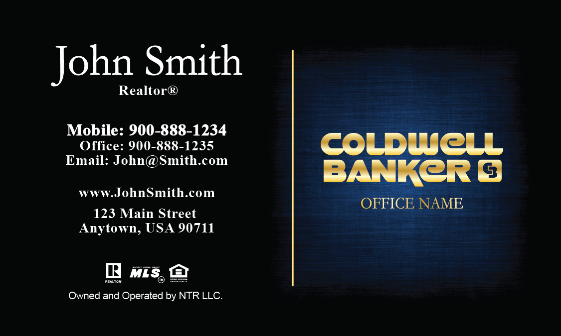 Coldwell Banker Realtor Business Card Blue with Gold - Design #104381