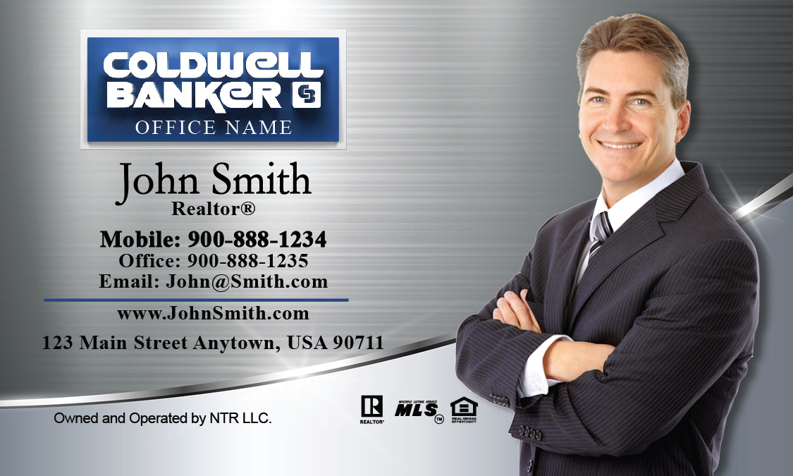 Stainless Coldwell Banker Business Card With Photo Design - Coldwell banker business card template