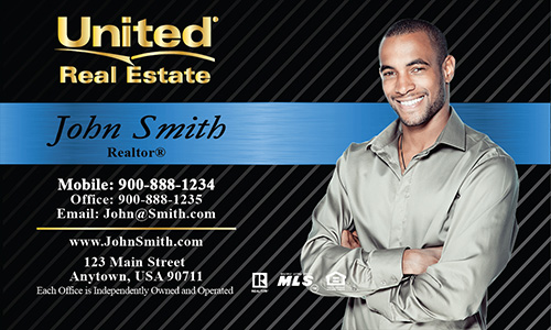 Custom business cards free templates shipping photo blue united real estate business card design 141021 reheart Image collections