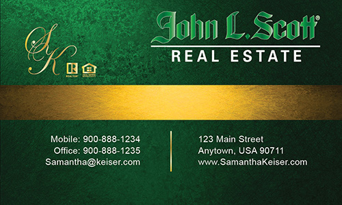 Green John L Scott Business Card - Design #142031