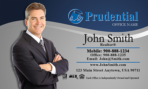 Prudential Business Card Gray and Blue - Design #105071