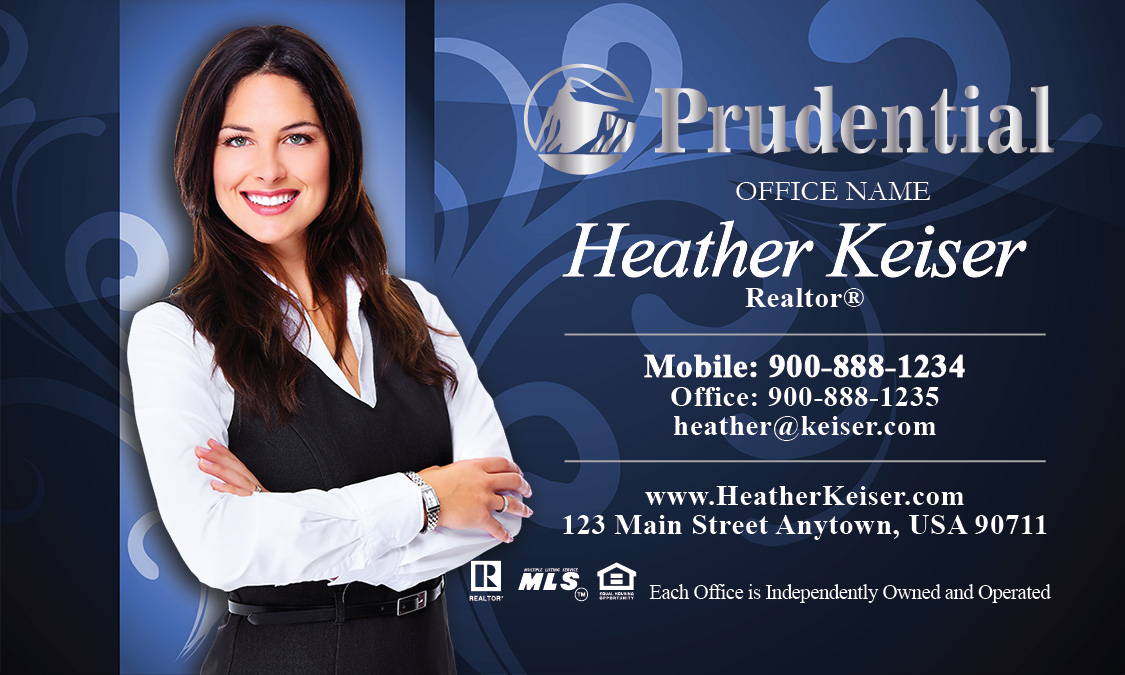 Prudential business card blue with elegant swirls design 105101 reheart Image collections