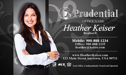 Prudential Business Card Black with Elegant Swirls - Design #105102