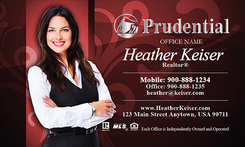 Prudential Business Card Red with Elegant Swirls - Design #105103