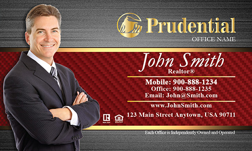 Prudential Business Card Steel and Red Pattern - Design #105183