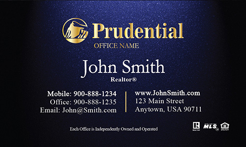 Prudential  Blue Realtor Business Card - Design #105311