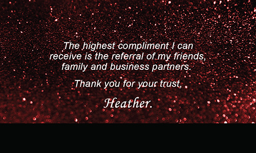 Prudential Business Card Holiday Glitter Red - Design #105352