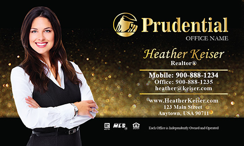 Prudential Business Card Holiday Glitter Gold - Design #105353