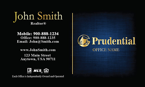 Gold Prudential Logo Realtor Business Card Dark Blue - Design #105381