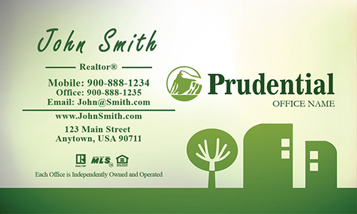Prudential Business Card Green Abstract Tree and House - Design #105401