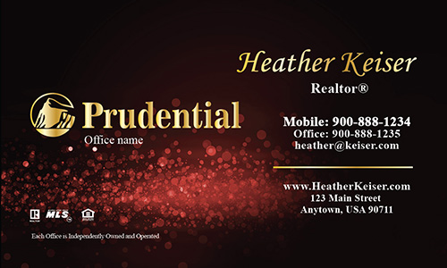 Prudential Business Card Red Glamorous Glitter - Design #105432