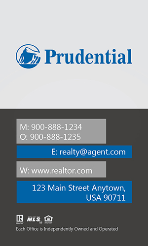 Prudential Real Estate Vertical Gray Business Card - Design #105441