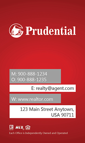 Prudential Real Estate Vertical Red Business Card - Design #105443