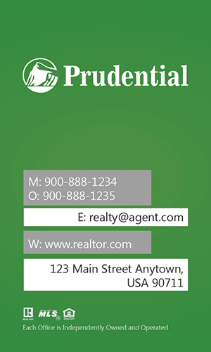 Prudential Real Estate Vertical Green Business Card - Design #105445