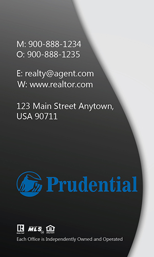Modern Vertical Gray Prudential Business Card - Design #105452