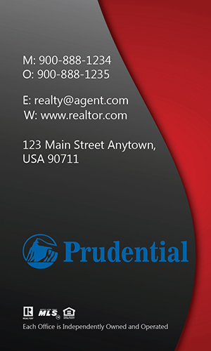 Modern Vertical Red Prudential Business Card - Design #105453