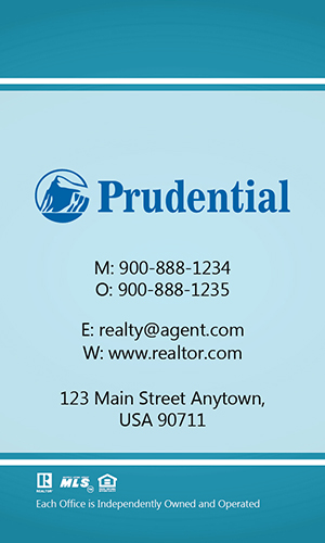Prudential Blue Vertical Realty Business Card - Design #105461