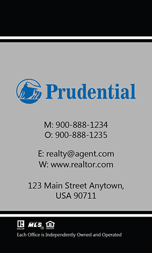 Prudential Gray Vertical Realty Business Card - Design #105462
