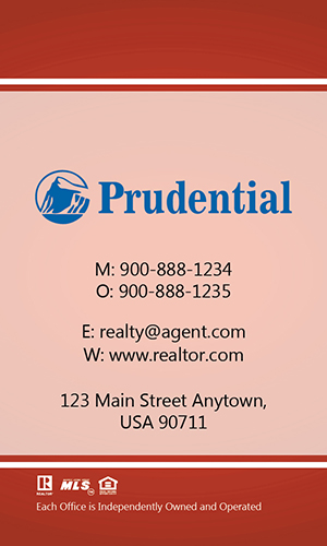 Prudential Red Vertical Realty Business Card - Design #105463