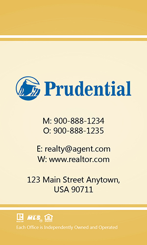 Prudential Yellow Vertical Realty Business Card - Design #105464
