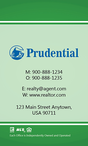 Prudential Green Vertical Realty Business Card - Design #105465