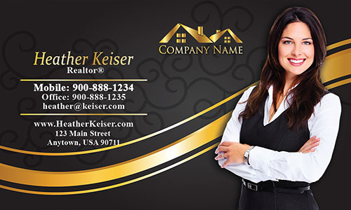 Gold Real Estate Logo Business Card - Design #106111