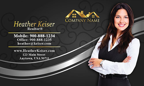 Gold Real Estate Logo Business Card - Design #106114